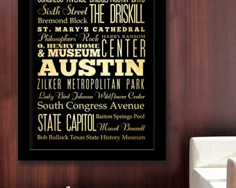 Gigantic Typography Art Poster of Austin, Texas - Subway Roll Art 40X55 - Austin's Attractions Wall Art Decoration -  LHA-166