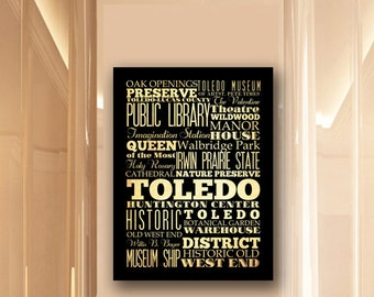 Large Typography Art Canvas of Toledo, Ohio - Subway Roll Art 24X30 - Toledo's Attractions Wall Art Decoration -  LHA-221