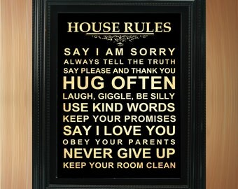 House / Family Rules Bus  / Transit / Subway Roll / Typography Art Poster 8X10 - Wall Art Decoration -  LHA-293