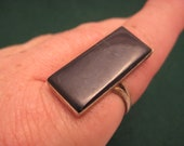 Vintage Sterling 925 Silver Ring with Onyx - Size 11