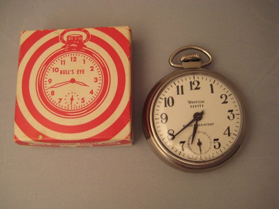 NIB 1962 Scotty Westclox BULL'S EYE  Pocket Watch in Box with instructions - New old stock