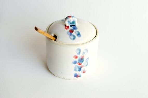 Ceramic Sugar Jar in Teal, Lavender, and Red by RossLab- polka dots, multicolor