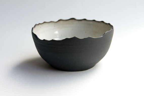 Items Similar To Stoneware Bowl In Black And White