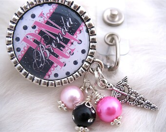RN BADGE REEL Personalized Hot Pink and Black Polka dot Id, Nicu, Lpn, Lmt, Bsn Accessory, Holder Pull, Medical Nurse Graduate