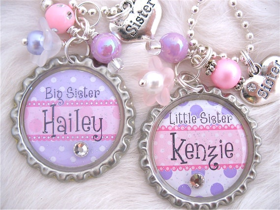 BIG SISTER Little Sister Jewelry, Personalized Children Name Bottle cap Lavender Pink Necklace, Personalized Kids name jewelry