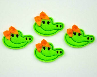 GATOR GIRL - Embroidered Felt Embellishments / Appliques - Green & Black  (Qnty of 4) SCF6110