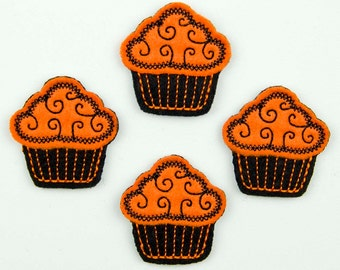 CUPCAKE - Embroidered Felt Embellishments / Appliques - Orange & Black  (Qnty of 4) SCF7015