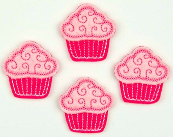 CUPCAKE - Embroidered Felt Embellishments / Appliques - Hot Pink & Pink  (Qnty of 4) SCF7005