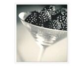 Black White Kitchen Art, Blackberries wall art, Black White Kitchen Decor, black white photography