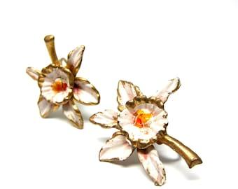 Vintage Earrings Orchid Flower Pink Enamel 50s Screw Back