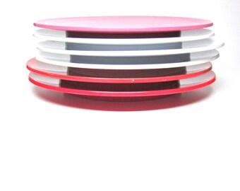Vintage Melamine Dinnerware Pink Red White Plates 1980s