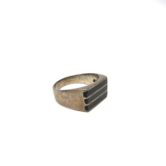 Vintage Onyx Ring Silver Inlaid Striped Unisex Ring