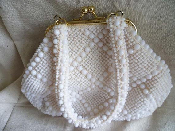 White Beaded Handbag - Vintage Purse - Beach Chic