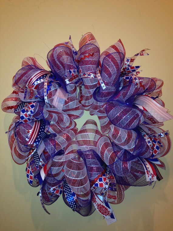 Red White And Blue Deco Mesh Wreath