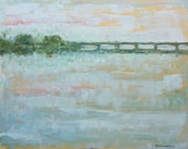 16x20 Palette Knife White Dawn over Bridge by Anne Zimmerman