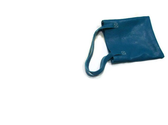 Teal Leather Small Shopper