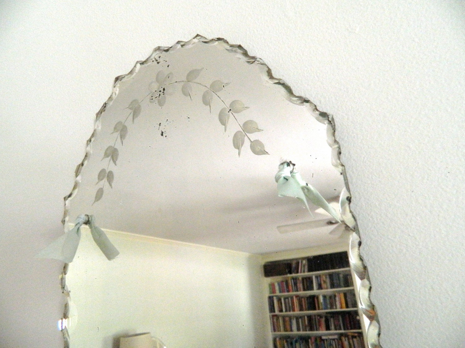 Vintage Etched Beveled Mirror Frameless