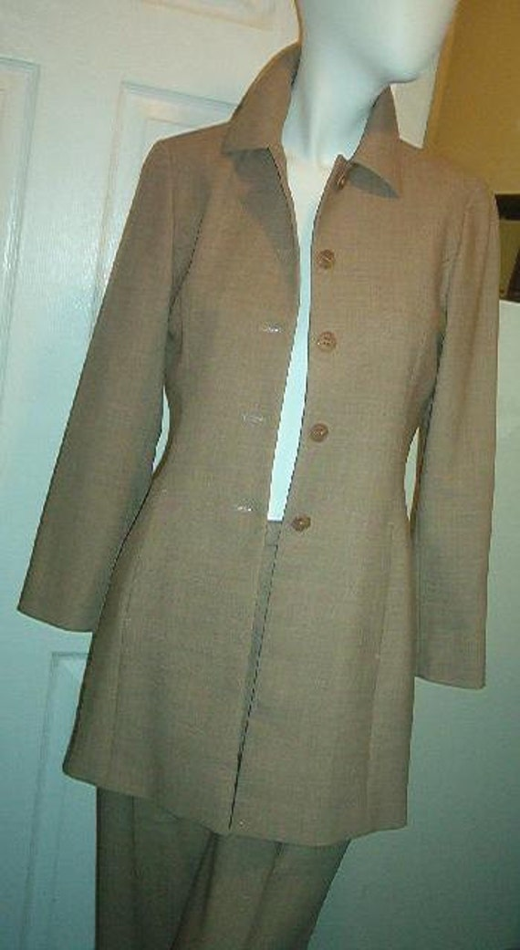 ANN TAYLOR Pant Suit Long Jacket Snake Lining Light Weight Wool Size 2