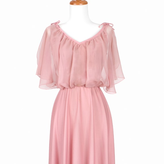 70s Vintage Dress Pink --RESERVED-- Maxi Gown Flutter Ruffle Top