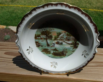 Nice Gold Trimmed Currier and Ives Bowl by Enesco
