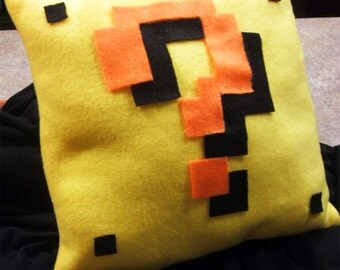 Super Mario Question Mark Block Pillow: 8-bit