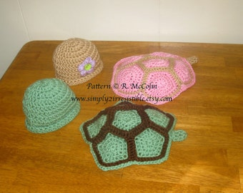 Turtle Shell and Beanie - Crochet Pattern 103 - US and UK Terms - Instant Download