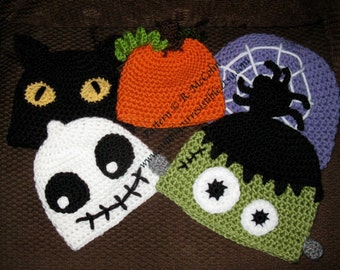 Halloween Hat Crochet Patterns - 101 - 6 Different Hats (Frankenstein, Pumpkin, Monster, Cat, Ghost Skeleton, Spider Web) - US and UK Terms