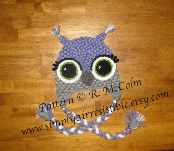 Alice Owl Hat Pattern - Crochet Pattern 14 - Beanie and Earflap Pattern - Newborn to Adult - INSTANT Download - US and UK Terms