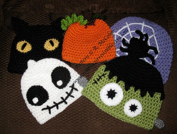 Free Crochet Patterns For Baby Halloween Hats : HALLOWEEN Hats Crochet Pattern 101 Black Cat