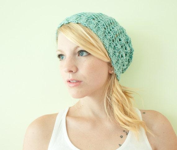 Slouchy hat beanie crocheted - aquamarine - acrylic