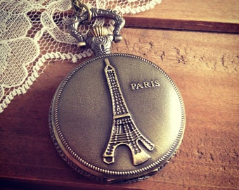 1 Pc Large Eiffel Tower Pocket Watch French Paris Round Locket Pendant Necklace  (BB033)