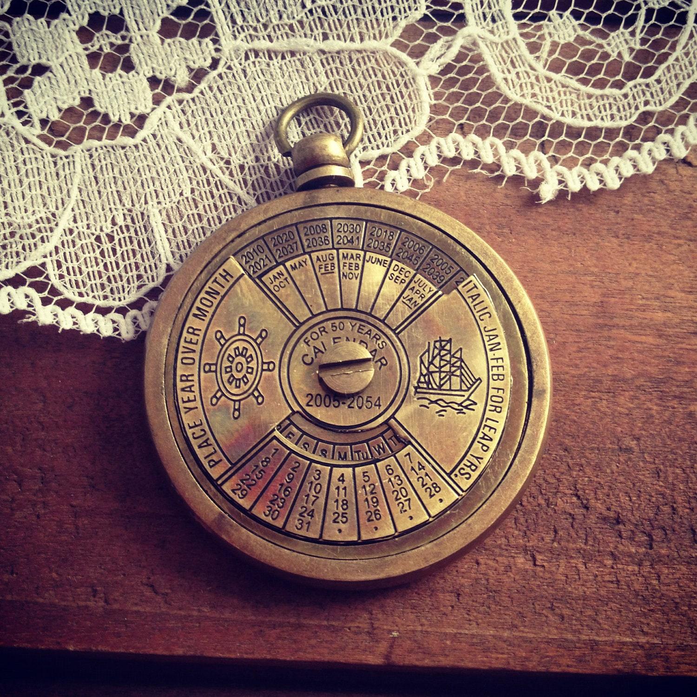 Perpetual Calendars : Year perpetual calendar pendant antique brass really