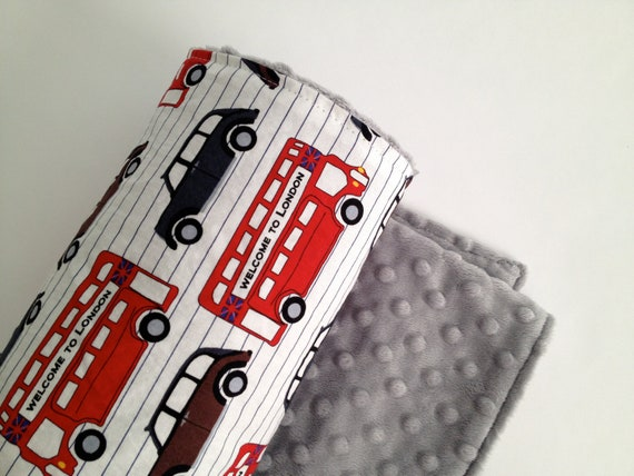 London's Calling  Baby Blanket with grey minky