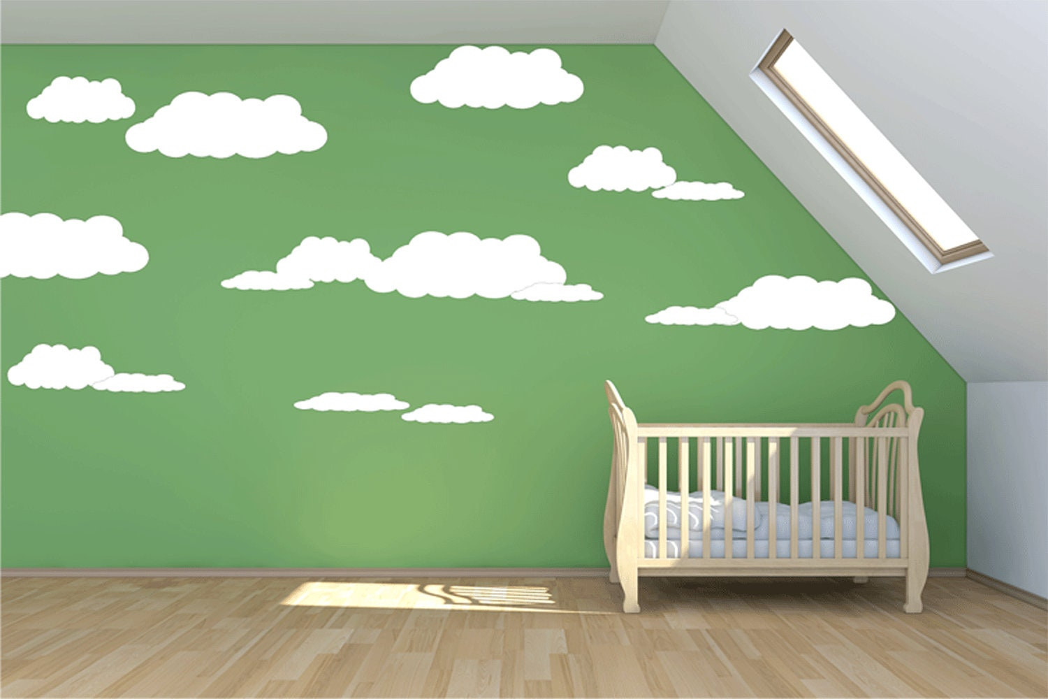 Large cloud wall decal 7 clouds mural wall stickers for Cloud wall mural