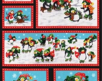 CLEARANCE - Penguin Pals Collection by Sara Kahammash - Holiday Penguins Skating PANEL - Moda Fabrics