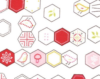 Sew Stitchy Collection - Novelty Hexagons - White by Aneela Hoey -  Moda