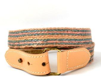 Vintage 80s Striped Hemp Apricot Leather Skinny Belt S Vtg Peach Stripes Belt Small