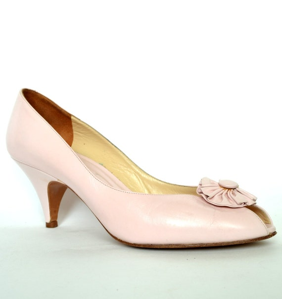FREE SHIPPING Vintage Evan PICONE Pink Leather Pumps 7 Vtg Pink Leather Heels 7