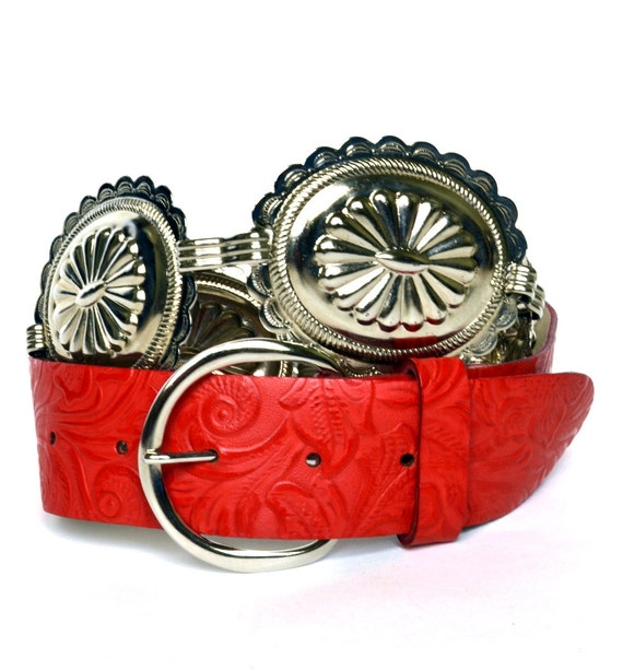 SALE Vintage 80s Silver Southwestern Red Tooled Belt S M Vtg Red Leather Belt Small Medium