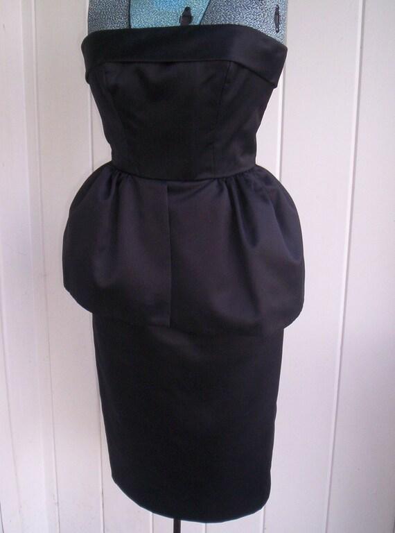 Vintage Victor Costa Black Strapless Peplum Dress Ca. Late 1980's, Size 4
