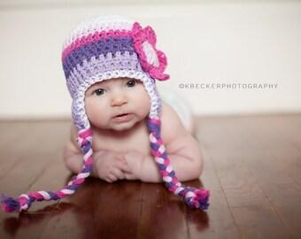 baby hat, baby girl hat, crochet baby hat, Crochet earflap hat, purple hat, crochet kids hat