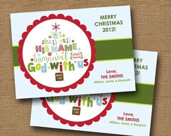 Christian Christmas Card | DIY PRINTABLE | Immanuel - God With Us | Christmas Tree Typography | Scripture, Bible Verse Card | Design 2 of 2