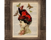 Butterflies are in Fashion Victorian Hat Original Print on an Antique Upcycled Bookpage