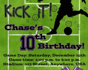 Soccer Birthday Party Invitation - Purple
