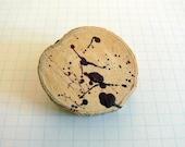 Dark Red Splash Design on Natural Wood Brooch