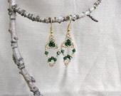 Beaded earrings.  'Green Persian'