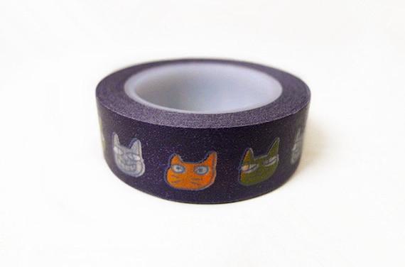 Washi Tape - Black Background Cartoon Cats Pattern (10m)