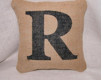 "Small Burlap Initial Pillow FREE SHIPPING 8""x 8""- Decorative Pillow- Burlap Pillows- Accent Pillow- Letter Pillow- Initial Pillow- Baby Gift"