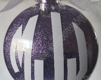 Great Gift Idea for New Couple / First Christmas. Personalized Monogrammed Ornament, Glass