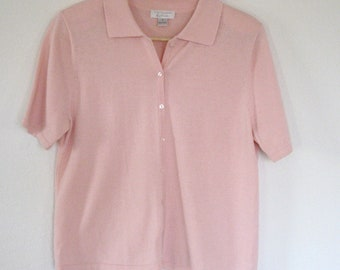 Vintage classic pink cotton sweater.  Very soft.  Size small women.